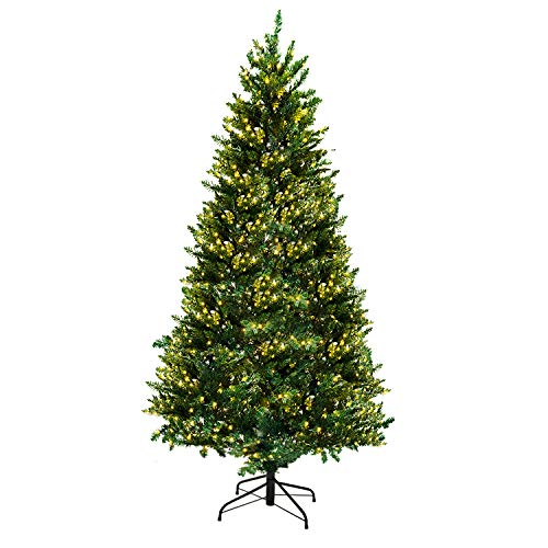 AsterOutdoor Pre-lit Christmas Tree 7ft Artificial Dunhill Fir with 300 Lights Foldable Stand for Indoor Outdoor Porch, 1096 Branch Tips Xmas Holiday Decoration Easy Assembly