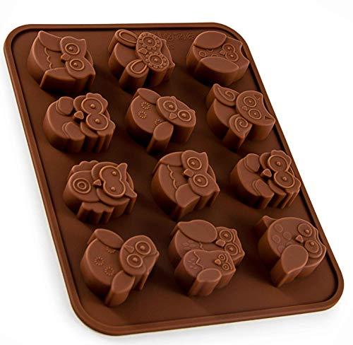BlueFox Silikonform mit Eulen, Eiswürfelform, Pralinenform, Schokoladenform, 19,5 x 15 x 1,5cm Süßigkeiten, Giessform, Kuchenverzierung, Vögel, Seife, Deko Kuchen, Farbe: Braun