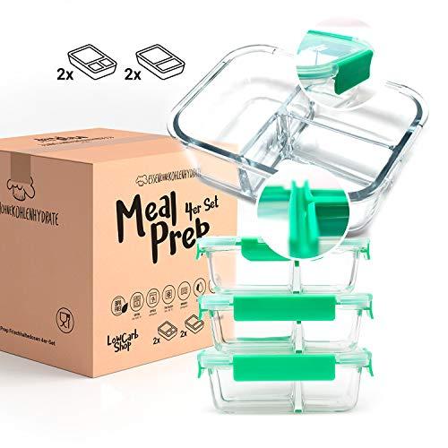 EOK Meal Prep - Fiambreras herméticas de cristal con cámaras separadas densas (juego de 4 unidades de 1040 ml) - Botes de vidrio con tapa (2 y 3 separaciones) - Sin BPA y herméticas