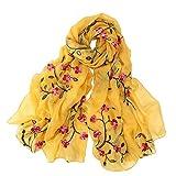 Pluto & Fox Fular De Mujer Bordado Con Flores Bufanda De Seda Diseño Retro Elegante Pañuelo cuello Estola (Amarillo, 75cm*175cm)