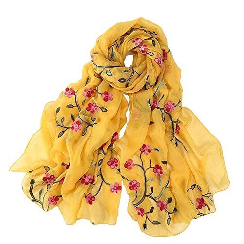 Pañuelo amarillo bordado de mujer