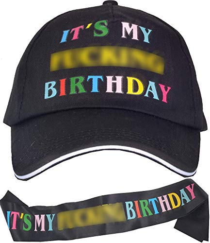 Birthday Hat, It's My Fing Birthday Hat and Sash, Baseball Cap, It's My Fing Birthday Sash, Birthday Party Supplies and Decorations for Woman Men (Black)