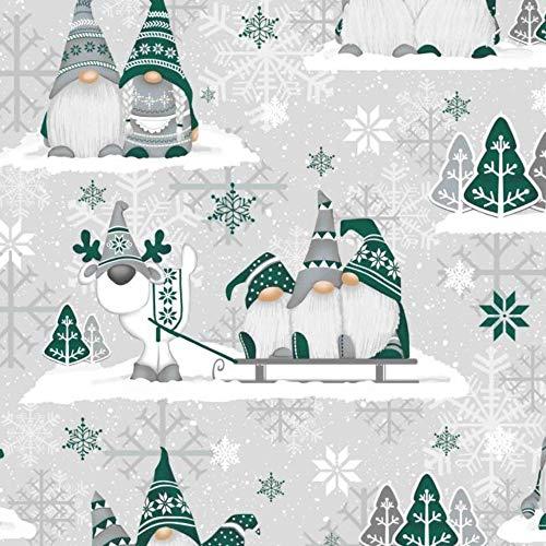 Pingianer 11,99€/m 100x160cm 100% Baumwolle Weihnachten Baumwollstoff Kinder Meterware Handwerken Nähen Stoff (3 Weihnachtszwerge Dunkelgrün 1, 100 x 160 cm)