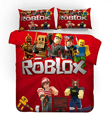 Elsdsnky 3 Pcs Duvet Cover Set with Two Pillow Cases Roblox Print Bedding Set Soft Microfiber Bedding Package Duvets and Pillowcases for Children Teens Adults (220x260 cm, 2x50x75 cm)