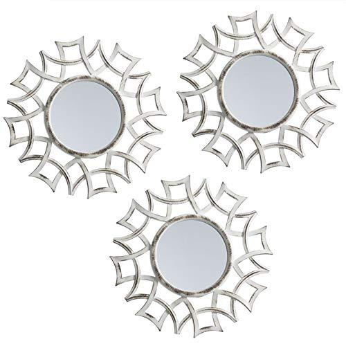 TIENDA EURASIA Juego de 3 Espejos Decorativos de Pared. Listos para Colgar. Ideal para Cualquier rincón de tu casa. (3)