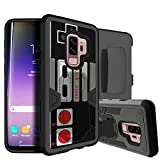 MINITURTLE Compatible with Samsung Galaxy S9 Rugged Holster + Stand [Rugged Defense Clip Case] Hybrid Protection Case w/Silicone Interior & Shell Retro Controller