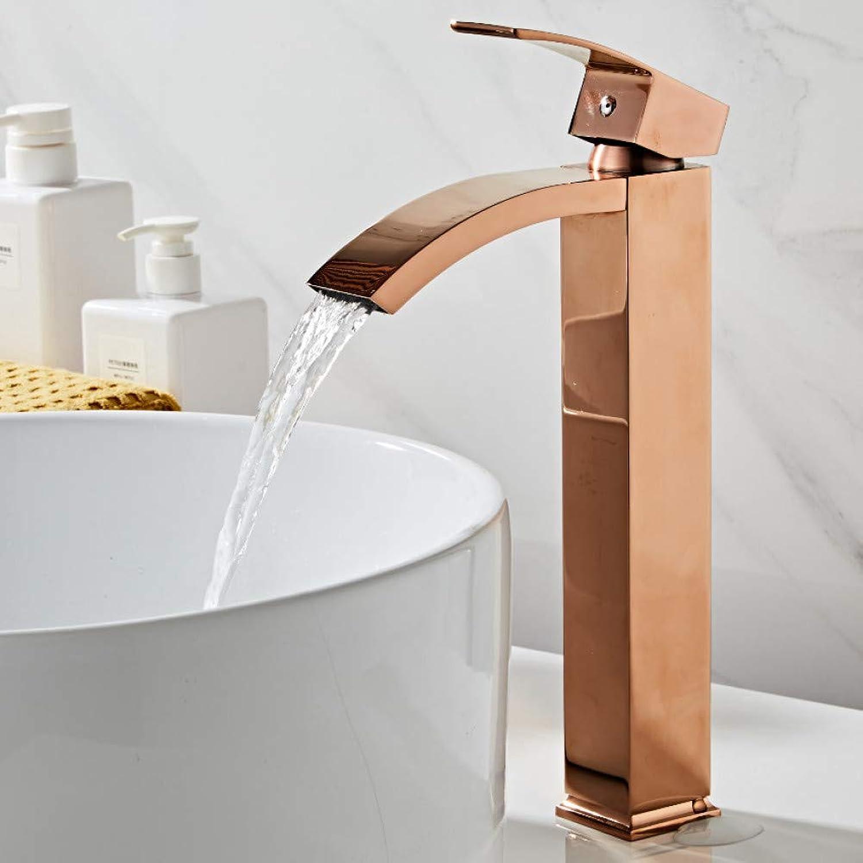 WSLWJH Einhand-Waschtischarmatur Waschbecken Wasserhahn Messing Bad Wasserhahn Einhebel RoséGold Waschbecken Waschwasserhahn Wasserfall Wasserhahn