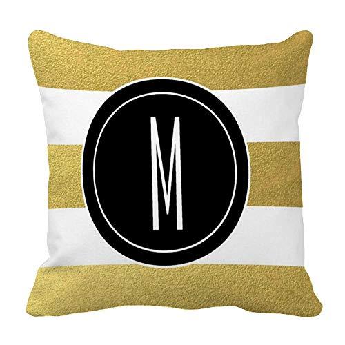 Perfecone Home Improvement - Funda de almohada (40 x 40 cm), diseño de rayas doradas, color negro