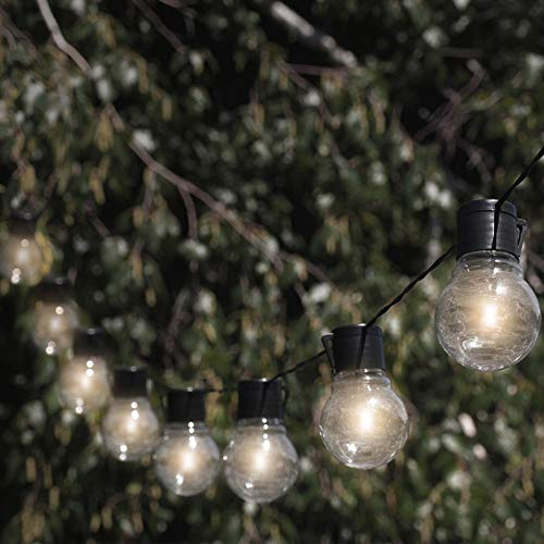 Solar Powered 10 LED Bulb Globe Patio String Lights, 20 Feet in Length, Two Lighting Modes, Perfect for Patio, Deck, Garden, and More