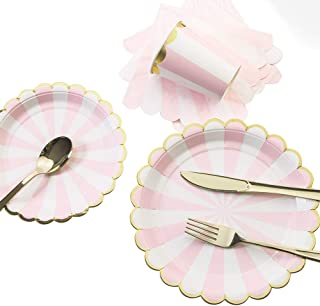 8 Guests Pink Striped with Gold Rim Disposable Partyware Dinner Set - 9