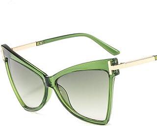 QPRER - Gafas De Sol,Gradiente De Marco Verde Lente Verde Moda Forma De Ojo De Gato Para Mujer Gafas De Sol Con Personalidad Europea Americana Gafas De Sol Decorativas En Forma De T Gafas De Sol De Playa