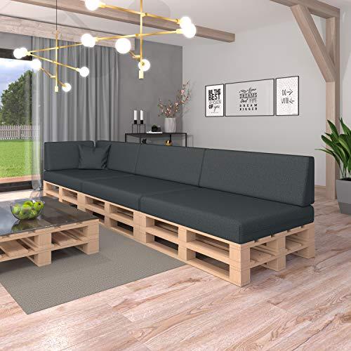 Pillows24 Palettenkissen 8-teiliges Set   Palettenauflage Polster für Europaletten   Hochwertige Palettenpolster   Palettensofa Indoor & Outdoor   Erhältlich Made in EU   Graphit - 3