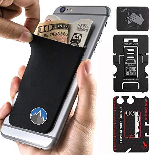 Gecko Handy-Geldbörse – Selbstklebende Kartenhalter – Handyhülle – zum Aufkleben auf Lycra-Tasche – für Kreditkarten und Berg
