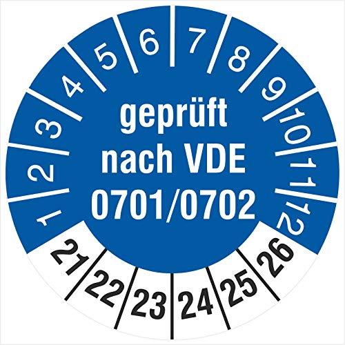 100 Prüfetiketten 30 mm Geprüft nach VDE 0701/0702 2021 bis 2026 Prüfplaketten