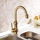 Estilo europeo cobre puro retro caliente y frío cocina fregadero giratorio americano antiguo sobre el contador lavabo aumentar lavabo grifo