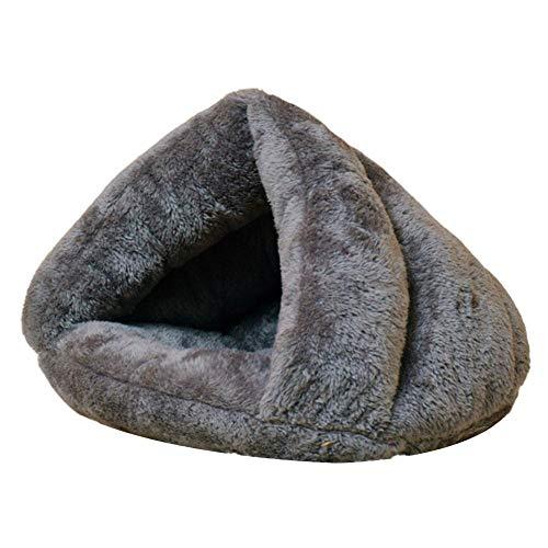 Cachorro Cueva Mascota Gato Perro Perrera Cama Triangular Carpa Suave Alfombrilla Cojín Invierno Cálido Nido Saco de Dormir Alfombras Plegable Medio Cubierto Casa en Forma de Zapatilla