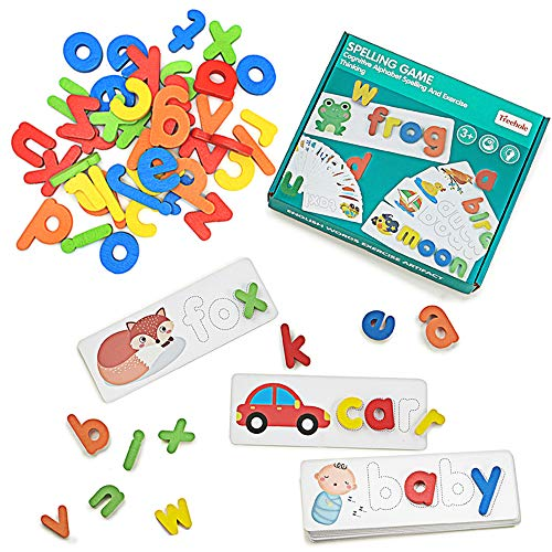 LIKEE See and Spell Learning Toys Matching Letter Puzzles Sight Word Flash Cards Montessori Preschool Educational Toys for Kids Boys Girls Age 3+ Years Old (28 cards and 52 Wooden Alphabet Blocks)