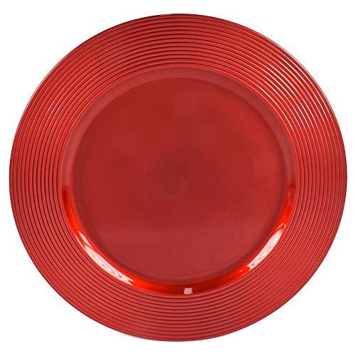 6 Sottopiatti Bordo MULTIRIGHE Colore Rosso in plastica Rigida Bordo Liscio Tondo 33 cm Natale cenone sotto Piatto Natalizio Capodanno Natale Cena Aperitivo