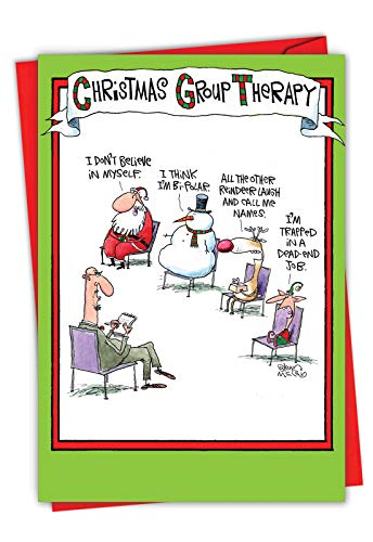 Group Therapy - Funny Merry Christmas Card with Envelope (4.63 x 6.75 Inch) - Santa, Reindeer, Snowman and Elf Psychology, Xmas Gift for Happy Holidays - Funny Adult Stationery 5799