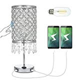 Tomshine Touch Control Crystal Table Lamp, Dual Fast USB Ports/AC Outlet/3-Way Dimmable Bedside Touch Lamp, Silver Nightstand Lamp with Crystal Lamp Shade for Bedroom Living Room (Bulb Included)