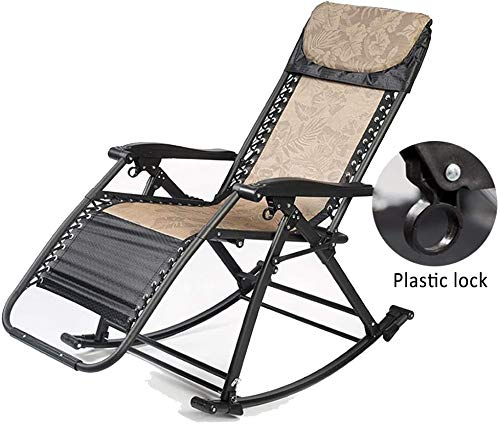 YGLight Reclining Sun Lounger Zero GraviFolding Rocking Chair - Adjustable Garden Sun Lounger for Indoor and Outdoor Family Pool Beach, Weight Capaci440LBS (Color : A)
