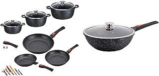 Kamberg - 0008161 - Batterie de cuisine 12 pièces : 3 poêles / 3 faitouts & Wok 30 cm - Manche Amovible - Fonte d'Aluminiu...