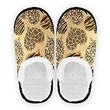 SUABO Cotton Slippers for Womens Mens, Leopard Giraffe Zebra Print Washable Home Shoes Non-Slip Slippers for Travel,Spa,Hotel, M