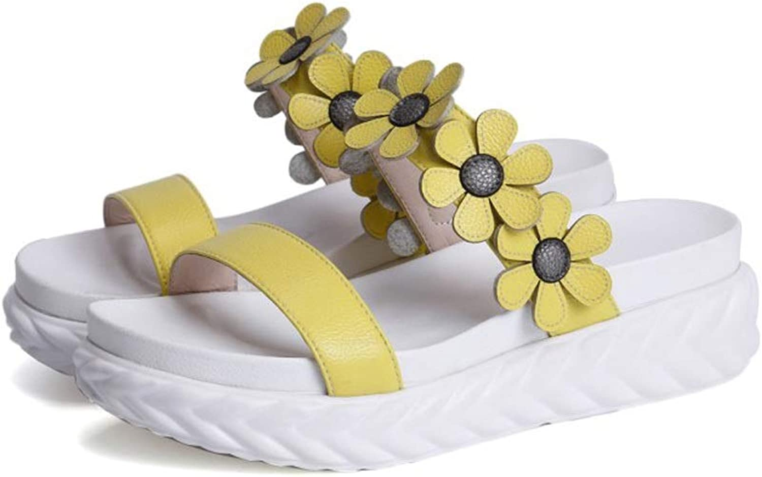 Ailj Women's Summer Sandals, Fashion Little Flowers Open Toe Low Heel Sandals Thick Soft Flat Slippers Yellow
