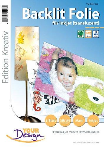 Your Design Druckfolie: 3 Blatt Inkjet Backlit-Folie (transluzent) 170µm A4 (Lampenfolie)
