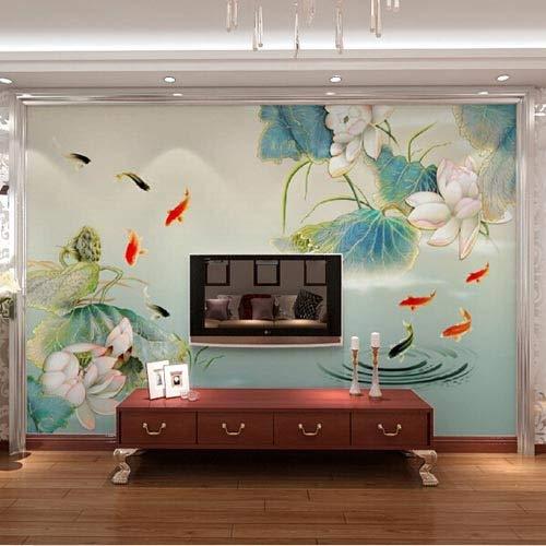 Fotomurali Poster moda Carta da parati floreale con ninfee Foto murale Pittura murale in stile cinese 3D Pesce murale per soggiorno TV sfondo