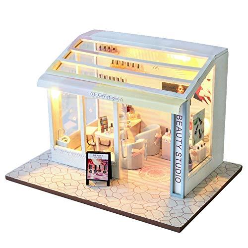 XLZSP Kit de casa de muñecas de bricolaje con muebles y luces...