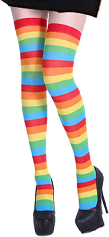 CHOP MALL Halloween Long Socks Women Thigh High Socks Over Knee High Stockings Cosplay Soft Halloween Stockings - Color Rainbow Striped Style