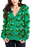 Women's Gaudy Garland Cardigan - Tacky Christmas Sweater with Ornaments: Large