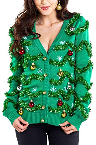 Women's Gaudy Garland Cardigan - Tacky Christmas Sweater with Ornaments: XX-Large Green