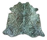 Zerimar Alfombra Piel de Vaca Natural Color: Metalizado Azul | Medidas: 210x200 cm | Alfombra Salón | Alfombra Decoracion | Alfombra Dormitorio | Alfombra Natural…