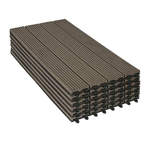 WOLTU WPC Terrassenfliesen Terrassendielen Holz-Optik 30x60cm, Fliese Bodenfliese Klickfliese mit klicksystem Bodenbelag Braun (6 Stück / 1 m²)