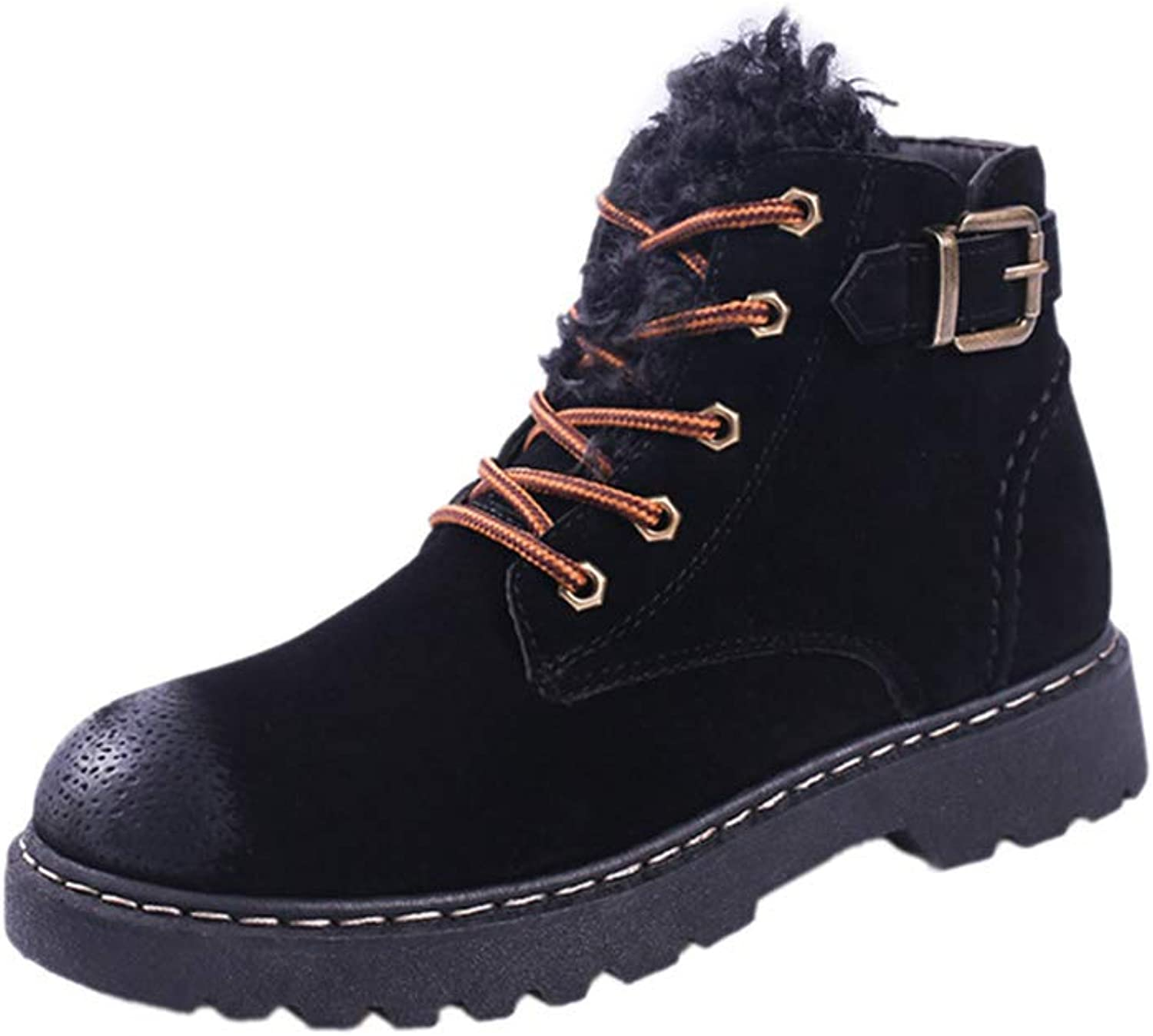 A-LING Women's Casual Boot Lace Up Round Head shoes Fashion Martin Boots