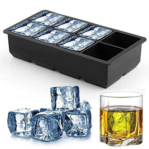 Grote vierkante Ice Cube Siliconen lade Set met kunststof deksels voor 8 vierkante kubussen Flexibel Stapelbaar Gemakkelijk Vrijgeven Vriezer mallen voor Whiskey, Cocktails, en Gemengde Dranken