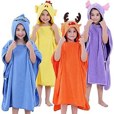 Baby Boys Girls Cotton Animal Design Bathrobe Cute Hooded Sleepwear Bath Towel 0-6Y