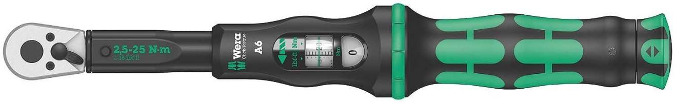 癒す噴火訴えるWera 05075605001クリック6調整式トルクレンチ、1 W、1 V、黒/緑、1/4インチ