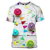 JLDJWSJD 2021 impresión 3D colorido lindo pastel de la magdalena mujeres hombres camiseta verano camiseta