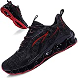 TIAMOU Sports Sneakers for Men Mesh Breathable Fashion Youth Trail Walking Shoes Black White Red