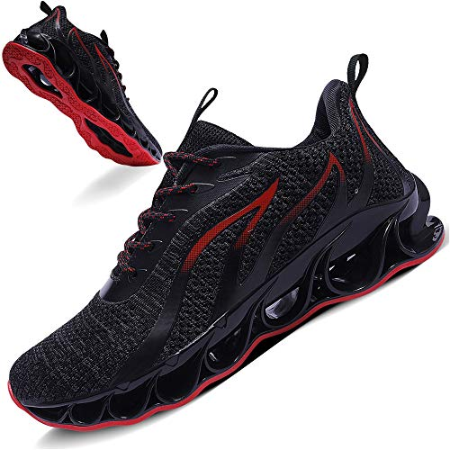 TIAMOU Running Shoes Men Walking Shoes Fashion Sneakers Breathable Mesh Shoes Blade Non Slip Soft Sole Casual Athletic Lightweight Shoes Black&Red