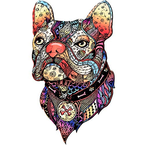 Yeasica Wooden Jigsaw Puzzles – Artifact Puzzle Irregular Shape Super Fun Inspired by Bully Dogs 6.3X 11 in (16x28 cm) 102pcs Small