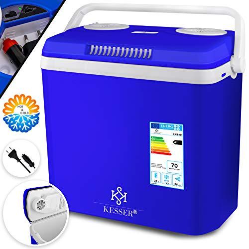 KESSER® 32 Liter Kühlbox | KÜHLT und WÄRMT | Thermo-Elektrische Kühlbox 12 Volt und 230 Volt | Mini-Kühlschrank | für Auto und Camping | EEK A++ | Blau |