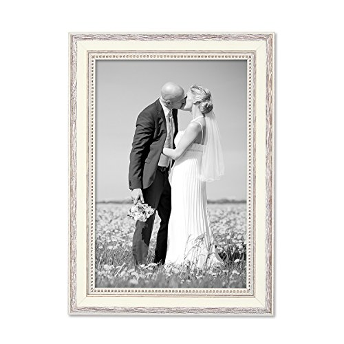 PHOTOLINI Bilderrahmen Shabby-Chic Landhaus-Stil Weiss 20x30 cm Massivholz mit Glasscheibe und Zubehör/Fotorahmen