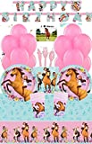 Spirit Riding Free Horse Party Supplies and Decorations Kit for 16 - Includes Birthday Banner, Plates, Cups, Tablecloth, Napkins, Balloons, Cutlery and Postcard JPMD Party House