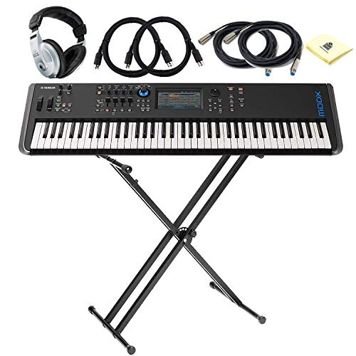 Yamaha MODX7 76-key Synthesizer with LC Synth-weighted Action, DAW and VST Control BUNDLE with Keyboard Stand 2 x Senor MIDI Cable & Microphone Cable Headphone and Zorro Sounds Cloth