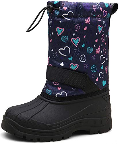 JACKSHIBO Winterstiefel Mädchen Kinderstiefel Schneestiefel Kinder Junge Stiefeletten Warme Weiche Boots Wasserdicht Stiefel, 1Blume 30 EU