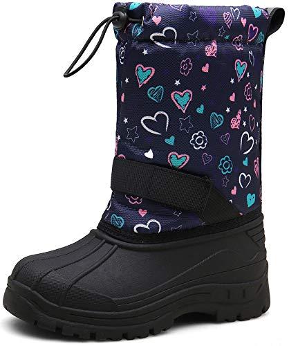 JACKSHIBO Winterstiefel Mädchen Kinderstiefel Schneestiefel Kinder Junge Stiefeletten Warme Weiche Boots Wasserdicht Stiefel, 1Blume 33 EU